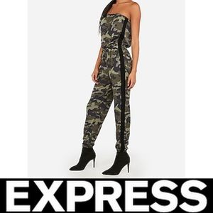 Express Strapless Sporty Striped Jumpsuit